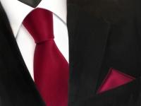 schöne TigerTie Krawatte + Einstecktuch in rot karminrot uni - Binder Tie
