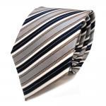 Designer Seidenkrawatte braun grau blau dunkelblau creme gestreift - Krawatte