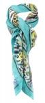 Halstuch in türkis blau gelb orange schwarz grau braun gemustert -Gr. 100x100 cm