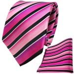 TigerTie Seidenkrawatte + Seideneinstecktuch rosa pink schwarz silber gestreift