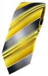 schmale TigerTie Designer Krawatte in gelb gold silber anthrazit grau gestreift