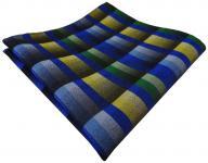 TigerTie Einstecktuch in blau grün grau gelb kariert - Stecktuch Tuch