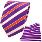 TigerTie Designer Krawatte + Einstecktuch lila violett orange weiß gestreift