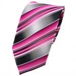 TigerTie Krawatte rosa pink magenta anthrazit silber grau gestreift - Tie Binder