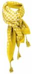 Damen Halstuch gelb senfgelb weiß gepunktet Gr. 100 cm x 100 cm - Tuch Baumwolle