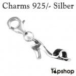 Charms 925/- Damenschuh in Silber Schwarz 0, 2cm x 1, 5cm