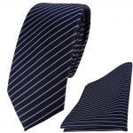 schmale TigerTie Krawatte + Einstecktuch in blau dunkelblau silber gestreift