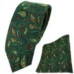 schmale TigerTie Krawatte + Einstecktuch in grün rot gold schwarz Paisley