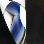 Designer Seidenkrawatte blau grau anthrazit weiss rot gestreift- Krawatte Seide