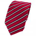 Enrico Sarto Seidenkrawatte rot schwarz silber gestreift - Krawatte Seide Tie