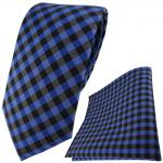 TigerTie Designer Krawatte + Einstecktuch in royal marine blau anthrazit kariert