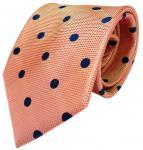 feine Designer Krawatte rot orange orangerot blau gepunktet 100% Seide