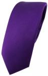 schmale TigerTie Designer Krawatte in lila violett einfarbig uni Rips