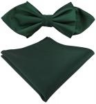 TigerTie Seidenfliege + Einstecktuch grün dunkelgrün Uni fein gerippt mit Spitze