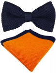 hochwertige TigerTie Strickfliege + Einstecktuch in marine orange Uni + Box
