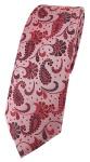 schmale TigerTie Designer Krawatte rot weinrot rosa anthrazit Paisley gemustert