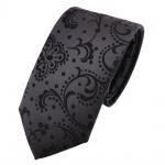 Schmale Kinderkrawatte anthrazit schwarz gemustert - Krawatte Marke TigerTie