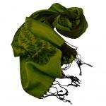 Schal in grün hellgrün schwarz gemustert Gr. 175x68 cm - 100% Viskose
