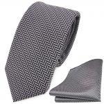 schmale TigerTie Krawatte + Einstecktuch in silber grau-schwarz gestreift