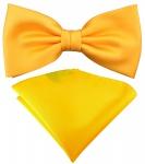 TigerTie Satin Fliege + Einstecktuch gelb sonnengelb Uni einfarbig + Geschenkbox