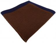 TigerTie Designer Strick Einstecktuch in dunkelbraun marine Uni - 100% Baumwolle