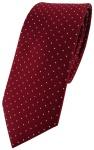 schmale TigerTie Seidenkrawatte bordeaux silber gepunktet - Krawatte 100% Seide