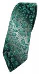 schmale TigerTie Designer Krawatte in grün grausilber geblümt gemustert