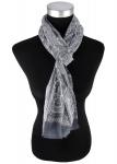 Schal in grau gemustert mit Ornamente - Gr. 180 cm x 50 cm - Tuch 100% Baumwolle