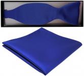 TigerTie Satin Selbstbinder Fliege + Einstecktuch blau royalblau leuchtblau Uni