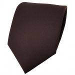 schöne feine TigerTie Designer Krawatte Satin dunkelbraun uni - Binder Tie
