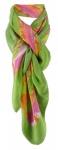 Halstuch in grün grasgrün gelb altrosa grau lila gemustert - Größe 100 x 100 cm