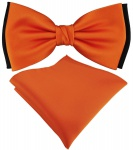 doppelfarbige TigerTie Fliege + Einstecktuch in orange schwarz Uni + Box
