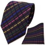 TigerTie Designer Krawatte + Einstecktuch rosa blau grün schwarz gestreift