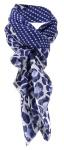 Halstuch in marine blau grau gemustert und gepunktet - Tuch Größe 100 x 100 cm