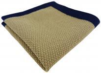TigerTie Designer Strick Einstecktuch in beige marine Uni - 100% Baumwolle