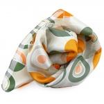 Feines Damen Satin Nickituch creme weiß orange grün Punkte - Tuch Halstuch Schal