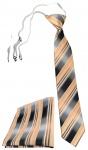 TigerTie Kinderkrawatte + Einstecktuch lachs orange silber anthrazit gestreift