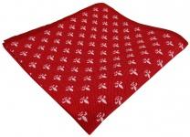 TigerTie Seideneinstecktuch in rot weiss - Motiv lilien gemustert - 100% Seide
