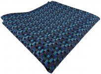 TigerTie Einstecktuch türkis blau anthrazit schwarz gemustert - Tuch 100% Seide
