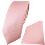 schmale TigerTie Krawatte + Einstecktuch in rosa altrosa einfarbig Uni Rips