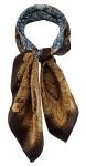 TigerTie Damen Nickituch Halstuch in braun beige türkis gemustert