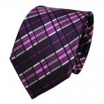 TigerTie Designer Seidenkrawatte lila violett magenta schwarz silber kariert Tie