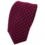 Enrico Sarto Seidenkrawatte rot anthrazit schwarz gepunktet - Krawatte Seide