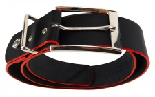 TigerTie Rindsledergürtel schwarz mit roter Kantenfärbung - Bundweite 120 cm