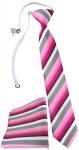 TigerTie Kinderkrawatte + Einstecktuch in rosa pink grau weiss gestreift
