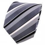 TigerTie Seidenkrawatte anthrazit schwarz grau silber weiß gestreift - Krawatte