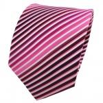 TigerTie Seidenkrawatte magenta fuchsia rosa pink weiß gestreift - Krawatte Tie