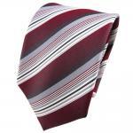TigerTie Seidenkrawatte rot bordeaux weinrot silber grau gestreift - Krawatte