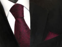 TigerTie Seidenkrawatte + Einstecktuch rot weinrot schwarz paisley Muster