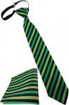 Kinderkrawatte + Einstecktuch grün hellgrün schwarz - vorgebunden mit Gummizug